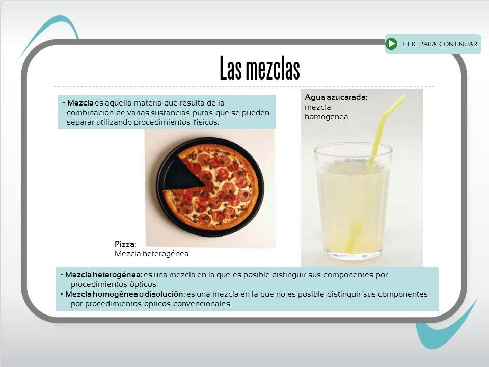 Las mezclas Agua azucarada: mezcla homogénea