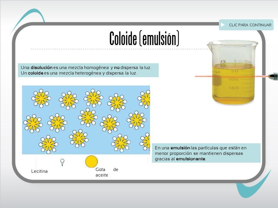 CLIC PARA CONTINUAR Coloide (emulsión) Una disolución es una mezcla homogénea y no dispersa la luz.