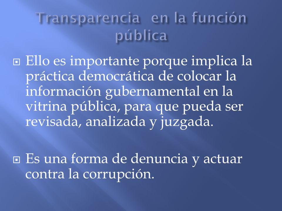 Transparencia en la función pública