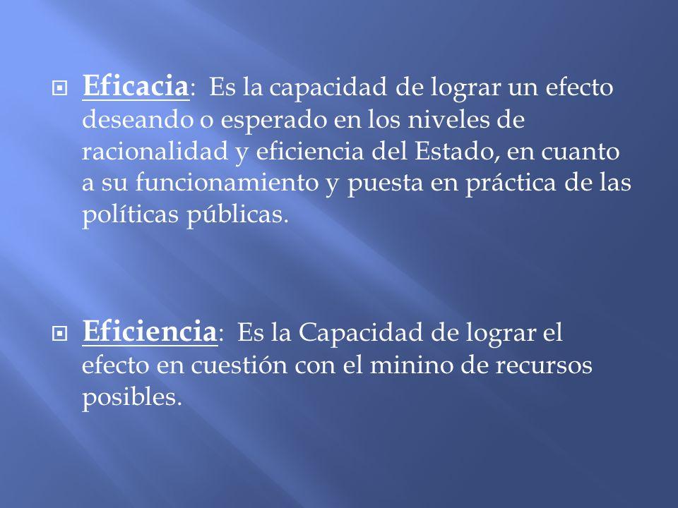 Eficacia: Es la capacidad de lograr un efecto deseando o esperado en los niveles de racionalidad y eficiencia del Estado, en cuanto a su funcionamiento y puesta en práctica de las políticas públicas.