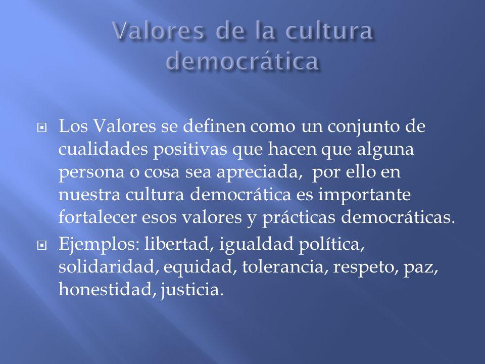 Valores de la cultura democrática
