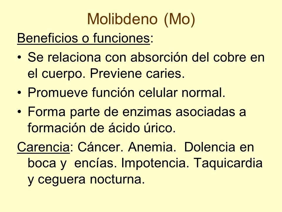 Molibdeno (Mo) Beneficios o funciones: