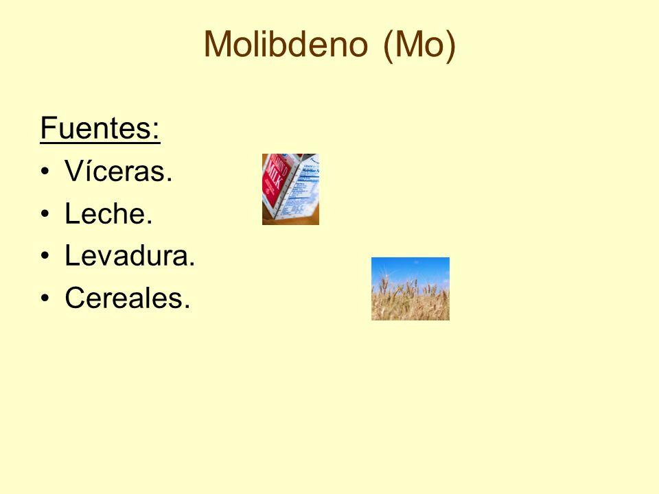Molibdeno (Mo) Fuentes: Víceras. Leche. Levadura. Cereales.