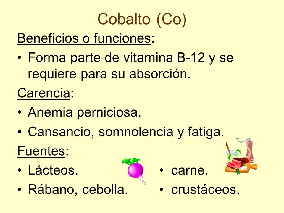 Cobalto (Co) Beneficios o funciones: