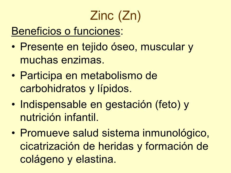 Zinc (Zn) Beneficios o funciones: