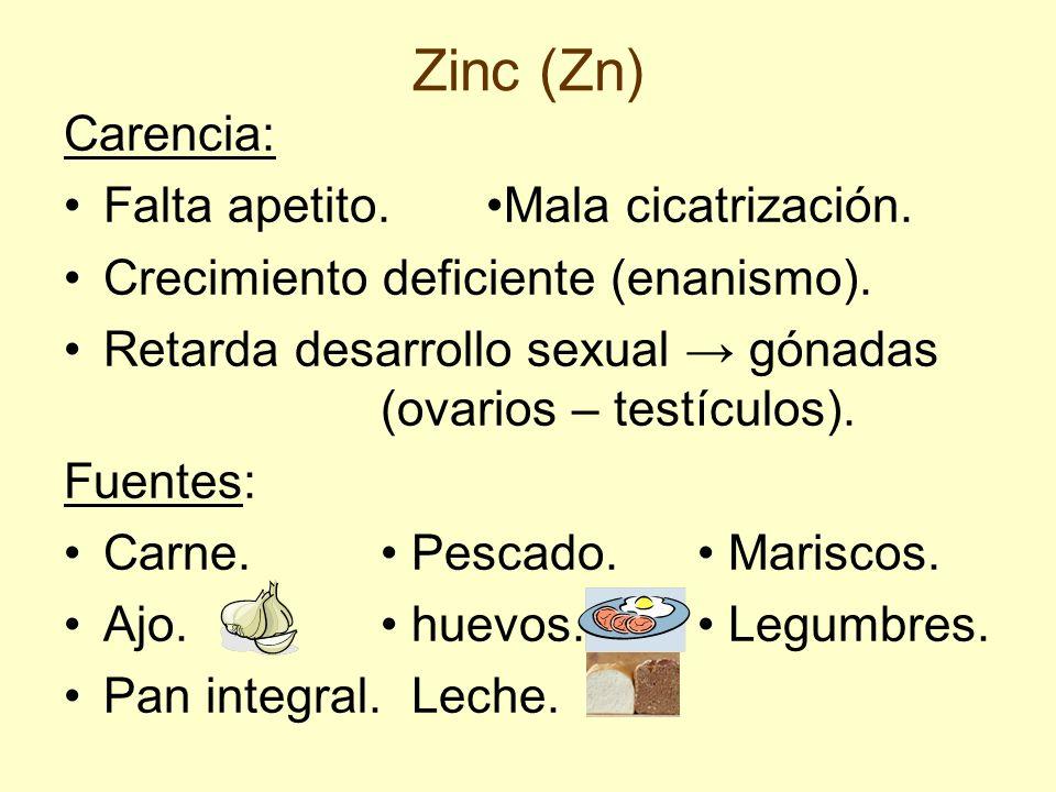 Zinc (Zn) Carencia: Falta apetito. •Mala cicatrización.