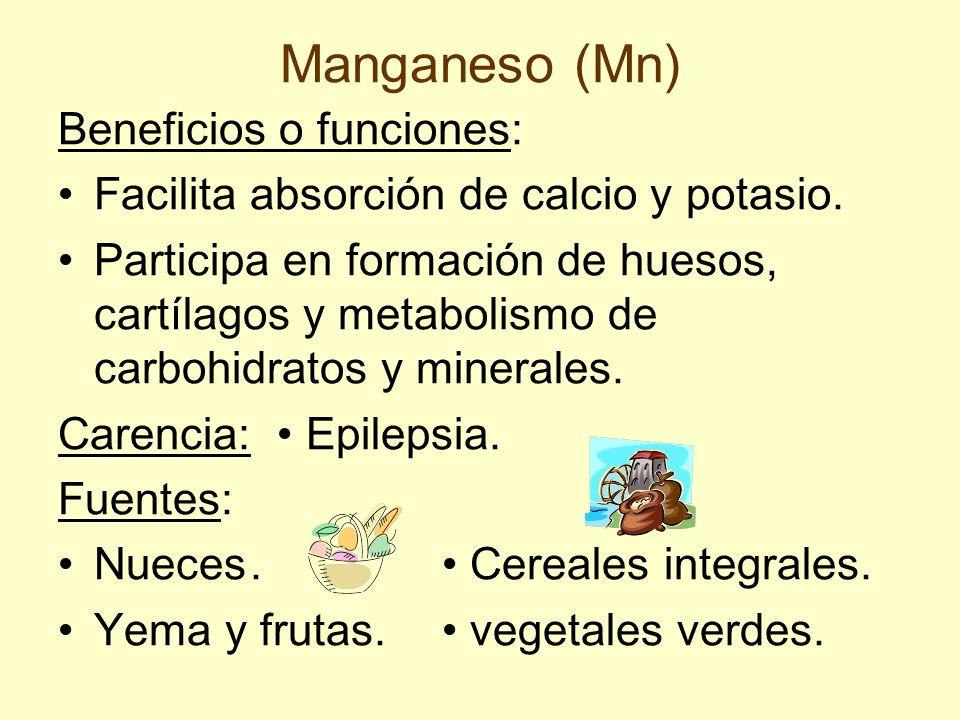 Manganeso (Mn) Beneficios o funciones: