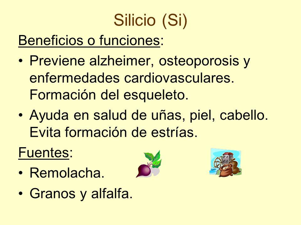 Silicio (Si) Beneficios o funciones: