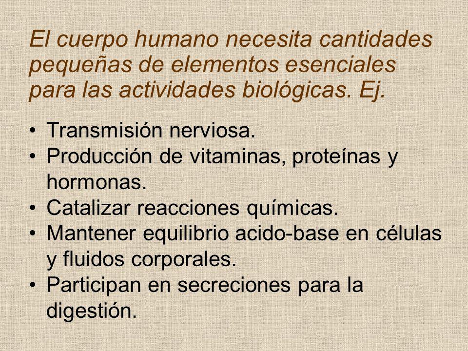 El cuerpo humano necesita cantidades pequeñas de elementos esenciales