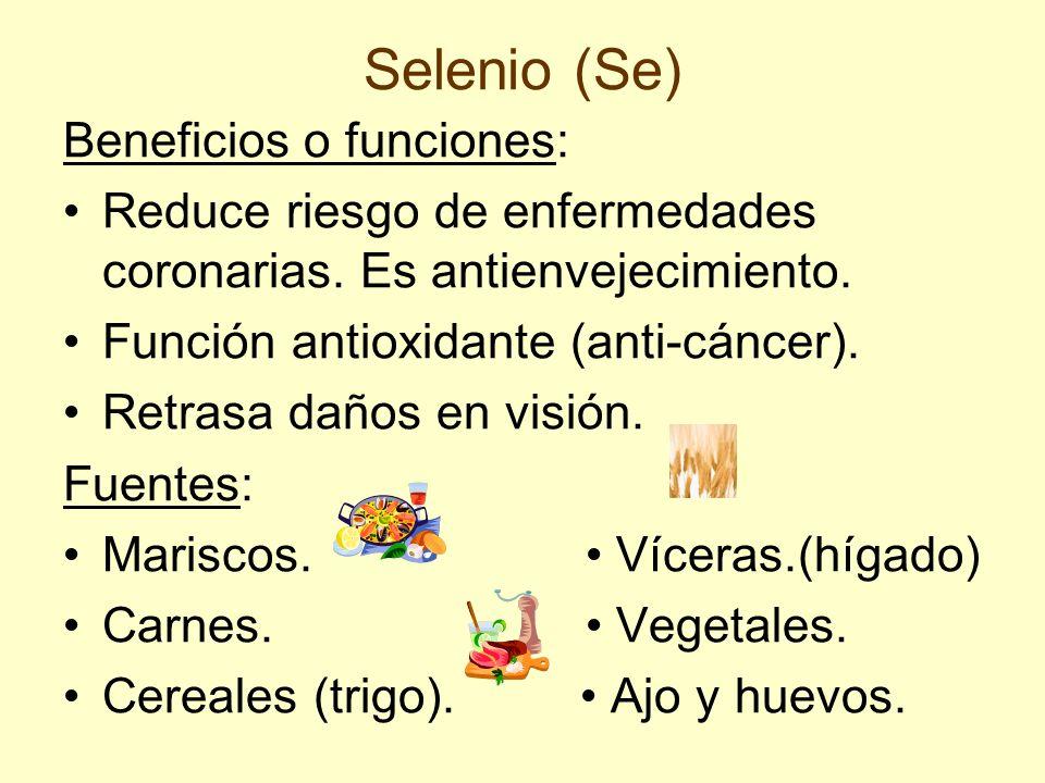 Selenio (Se) Beneficios o funciones: