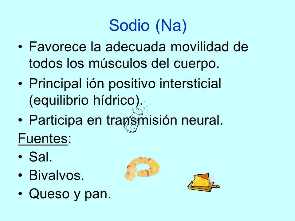 Sodio (Na) Favorece la adecuada movilidad de todos los músculos del cuerpo. Principal ión positivo intersticial (equilibrio hídrico).