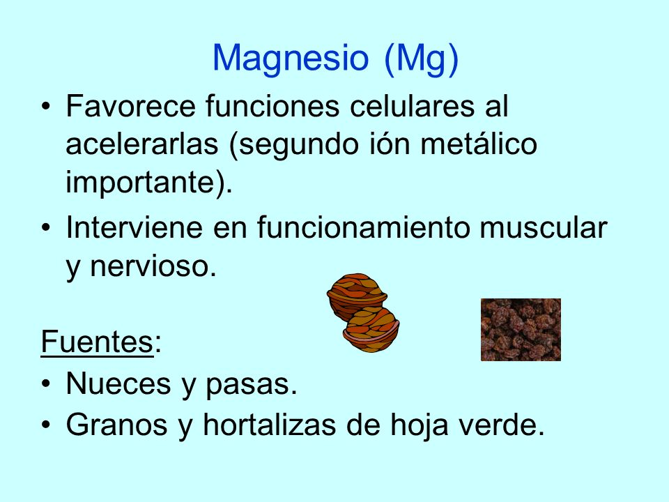 Magnesio (Mg)Favorece funciones celulares al acelerarlas (segundo ión metálico importante). Interviene en funcionamiento muscular y nervioso.