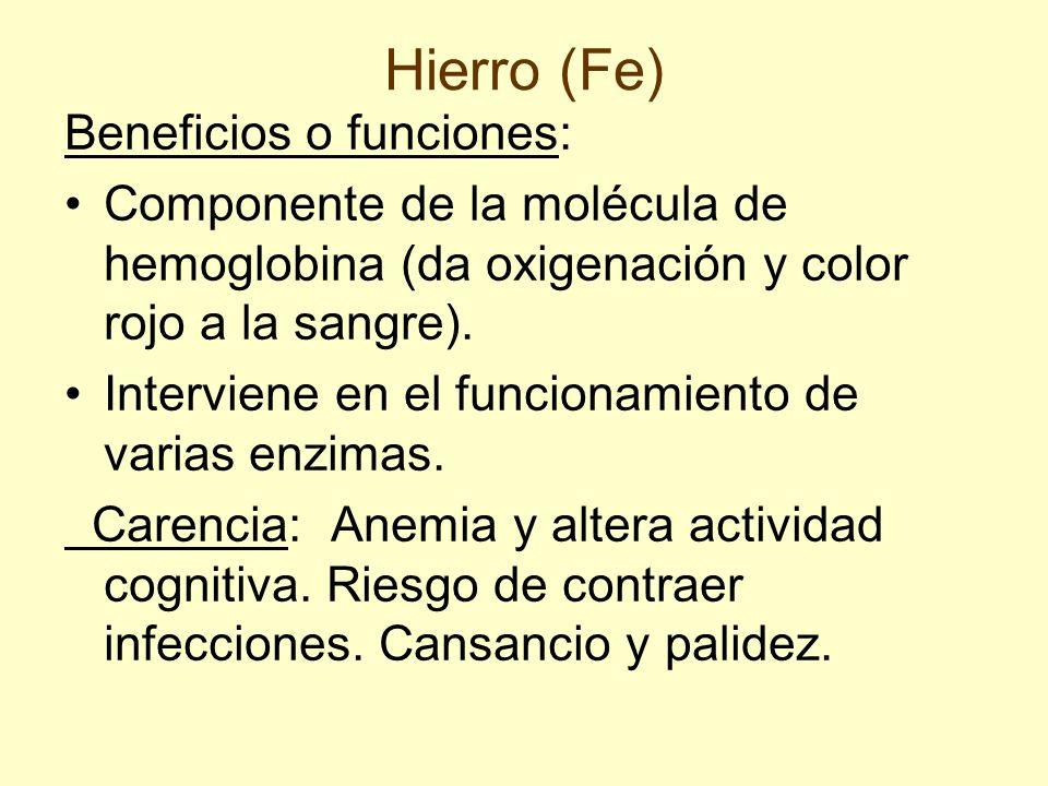 Hierro (Fe) Beneficios o funciones: