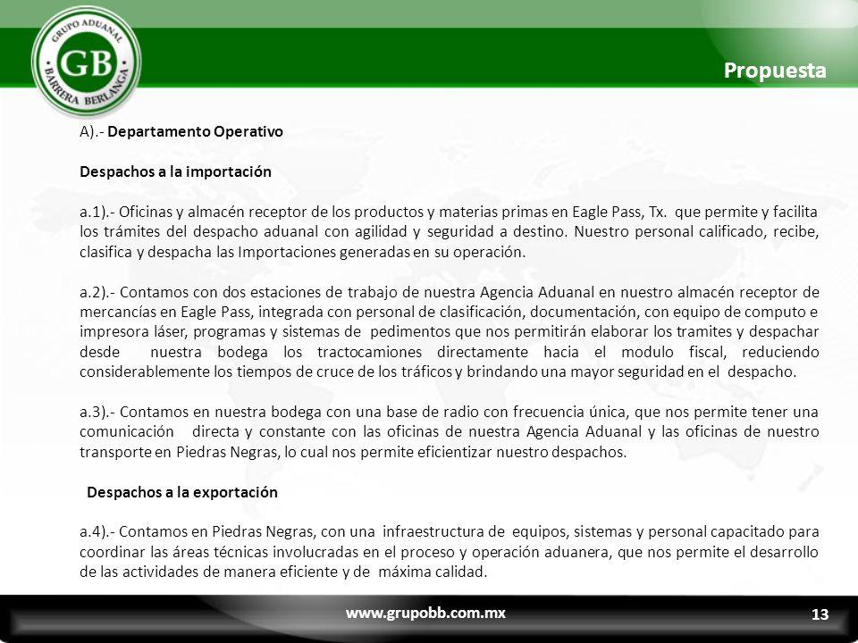 Propuesta A).- Departamento Operativo Despachos a la importación