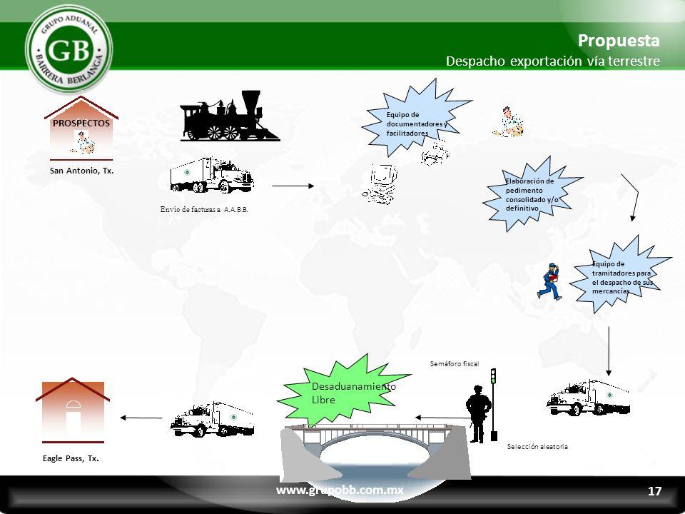 Propuesta Despacho exportación vía terrestre www.grupobb.com.mx 17