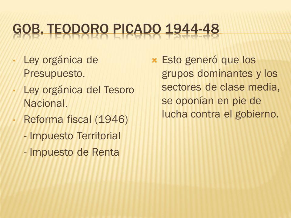Gob. Teodoro Picado 1944-48 Ley orgánica de Presupuesto.