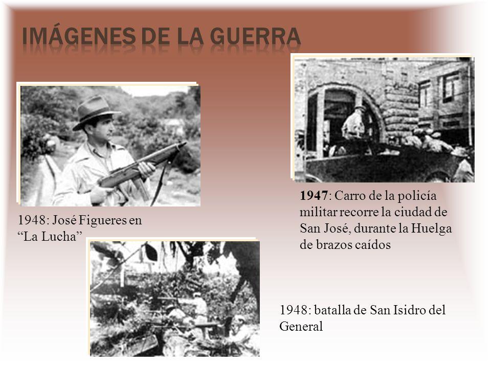 Imágenes de la Guerra 1947: Carro de la policía militar recorre la ciudad de San José, durante la Huelga de brazos caídos.