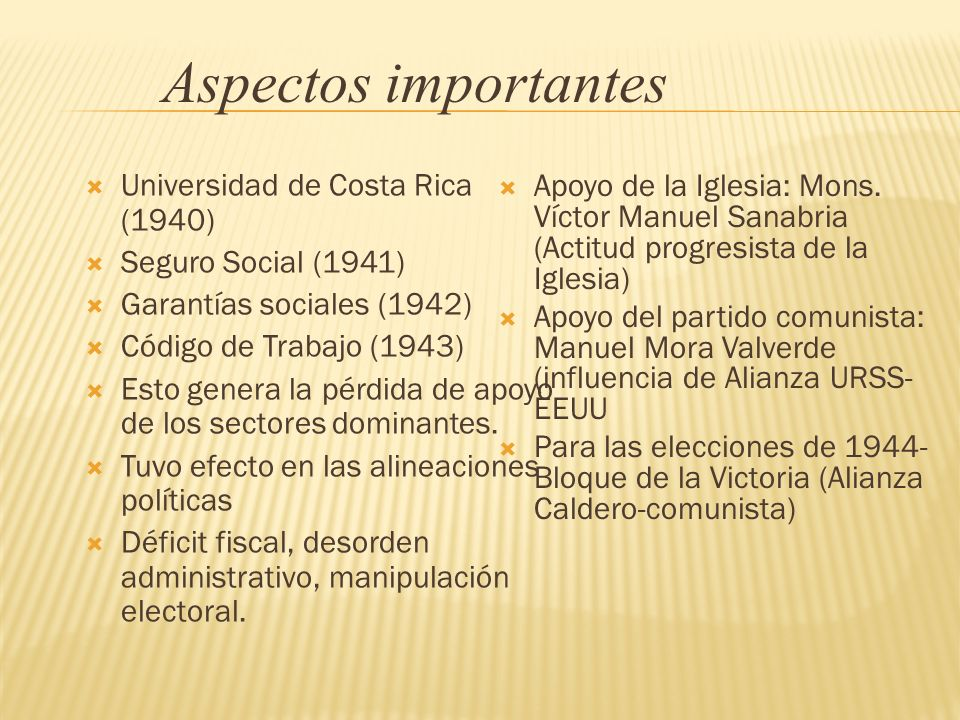 Aspectos importantes Universidad de Costa Rica (1940)