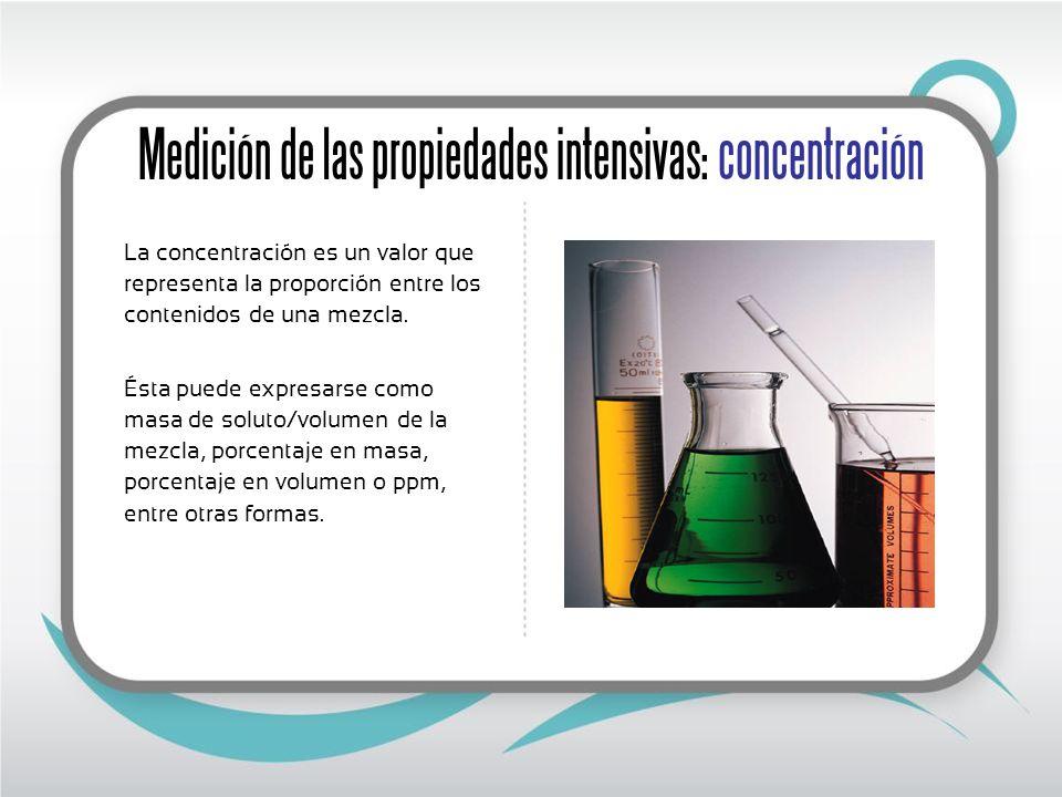 Medición de las propiedades intensivas: concentración