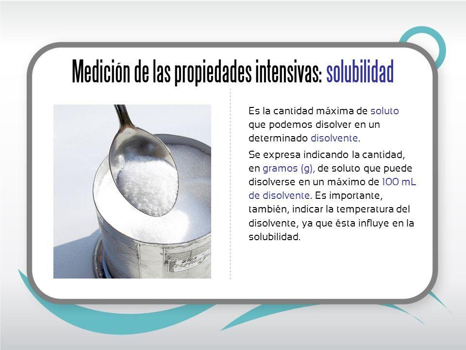 Medición de las propiedades intensivas: solubilidad