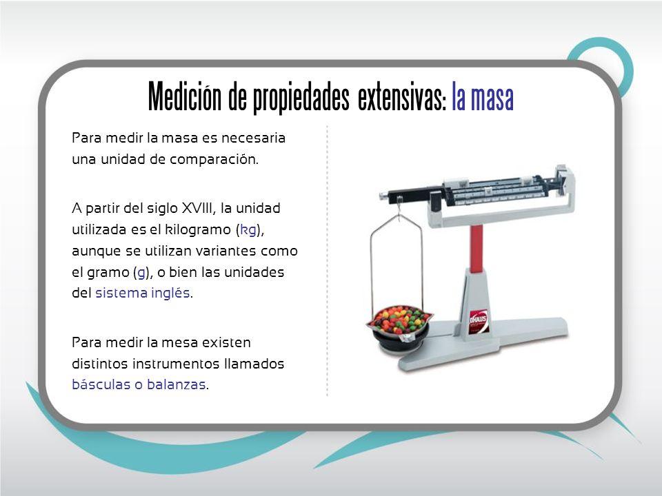 Medición de propiedades extensivas: la masa
