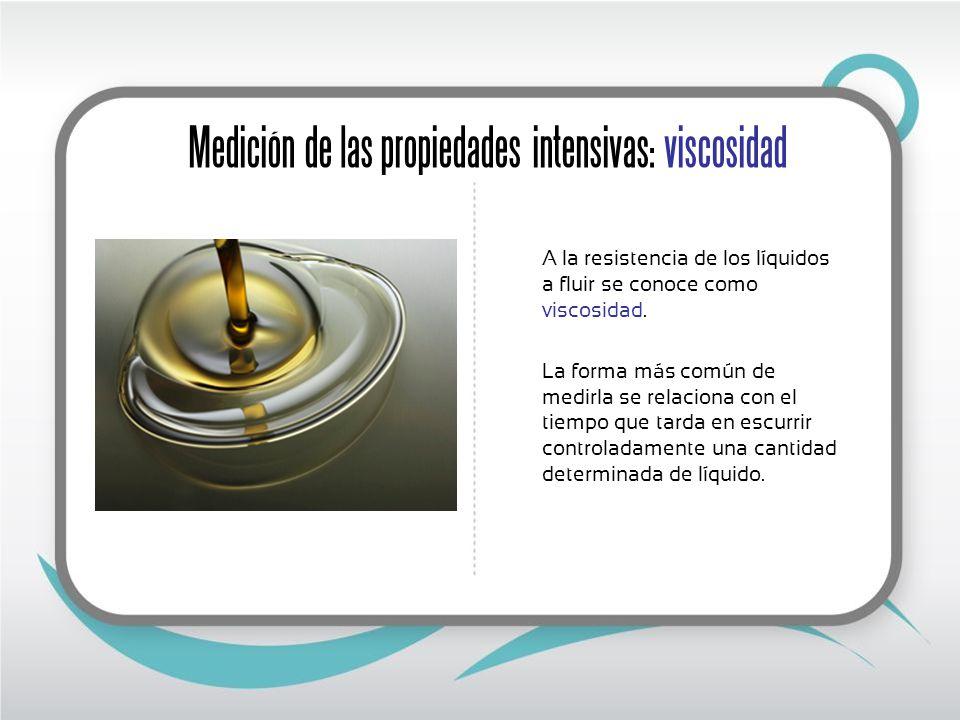 Medición de las propiedades intensivas: viscosidad