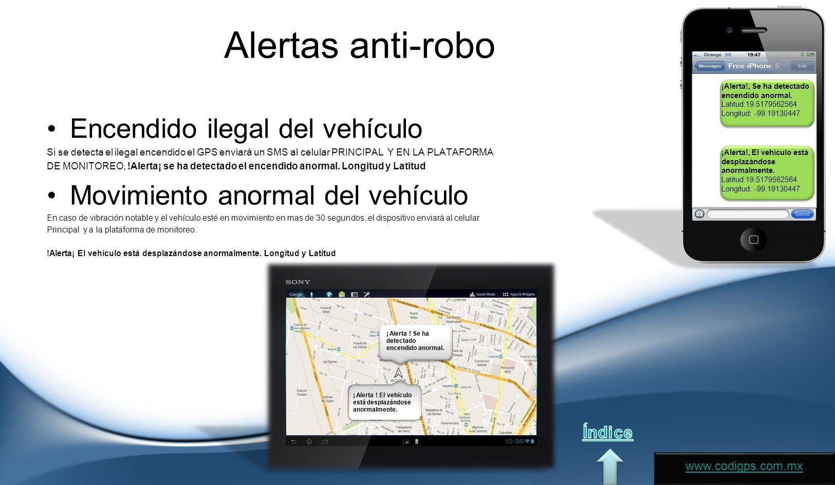 Alertas anti-robo Encendido ilegal del vehículo