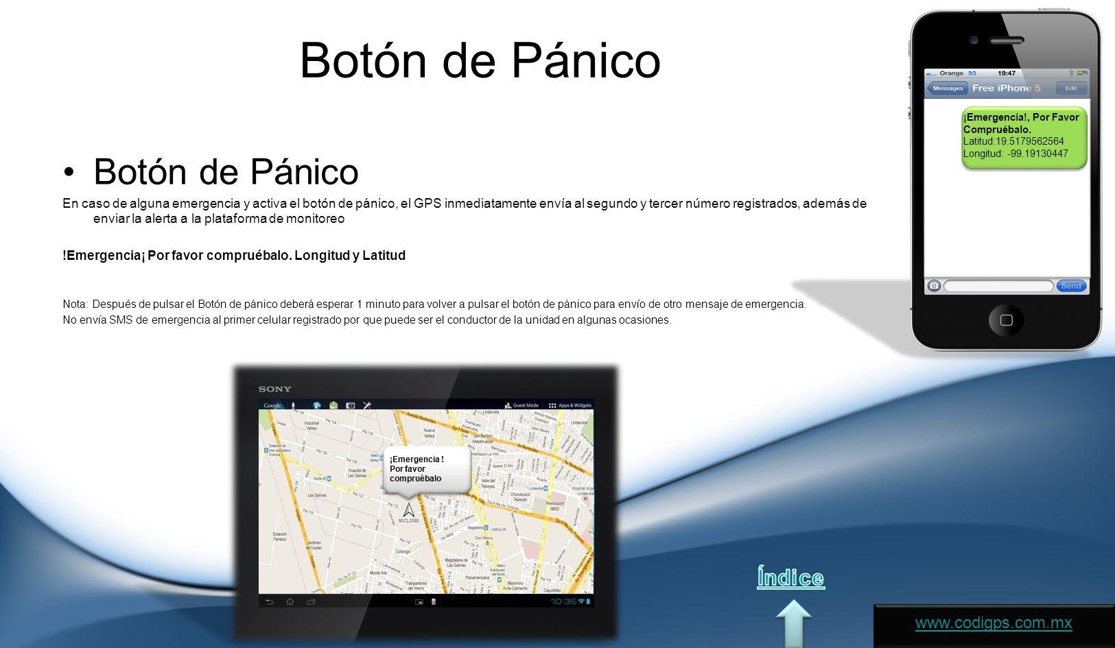 Botón de Pánico Botón de Pánico Índice www.codigps.com.mx