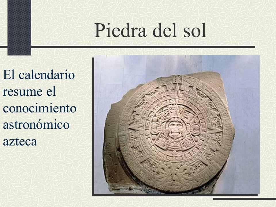 Piedra del sol El calendario resume el conocimiento astronómico azteca