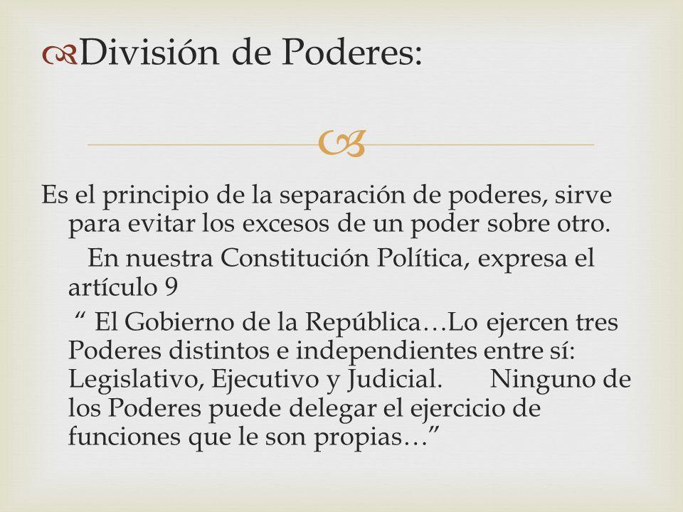División de Poderes: Es el principio de la separación de poderes, sirve para evitar los excesos de un poder sobre otro.