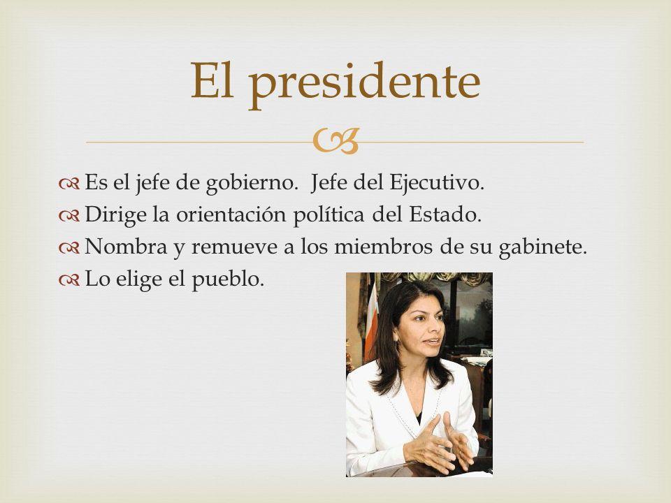 El presidente Es el jefe de gobierno. Jefe del Ejecutivo.