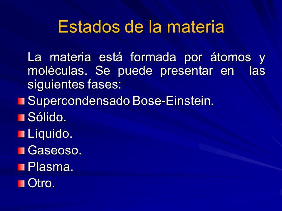 Estados de la materiaLa materia está formada por átomos y moléculas. Se puede presentar en las siguientes fases: