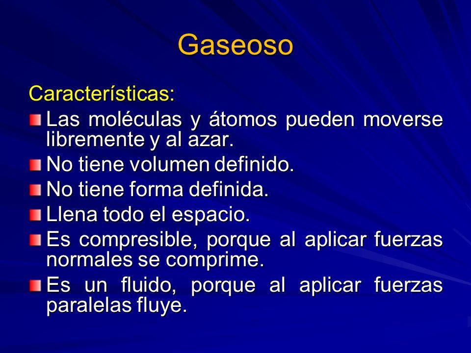 Gaseoso Características: