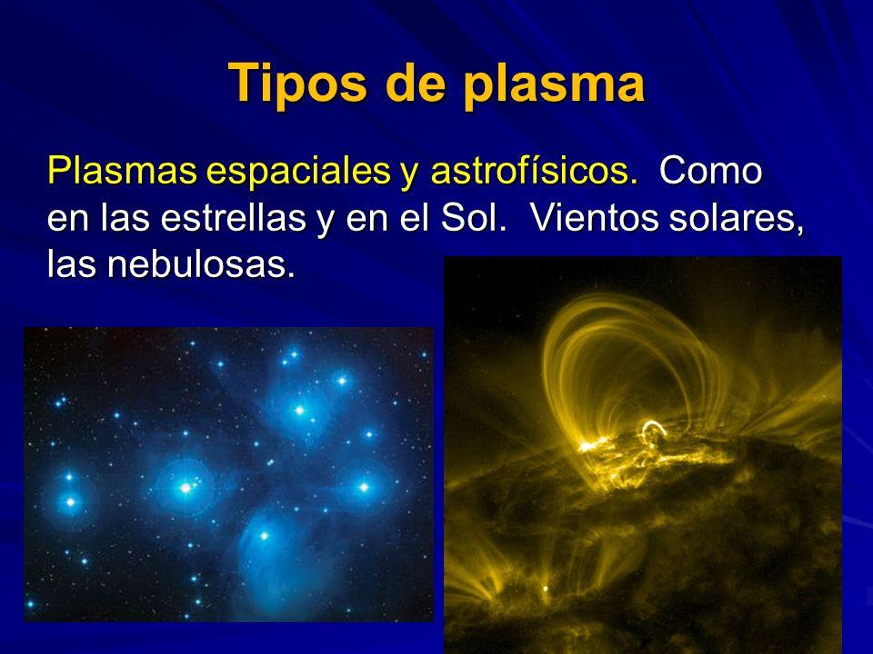 Tipos de plasmaPlasmas espaciales y astrofísicos. Como en las estrellas y en el Sol.