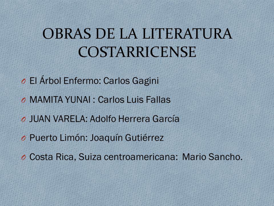 OBRAS DE LA LITERATURA COSTARRICENSE