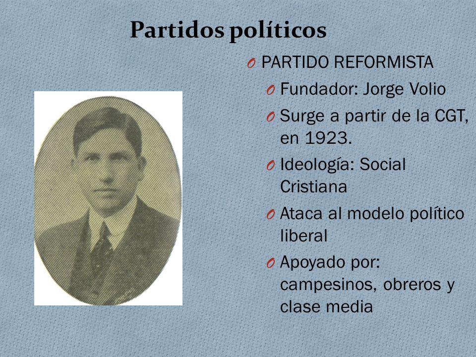 Partidos políticos PARTIDO REFORMISTA Fundador: Jorge Volio