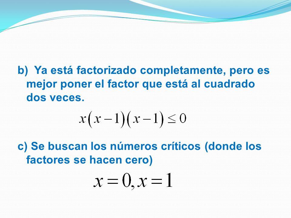 b) Ya está factorizado completamente, pero es mejor poner el factor que está al cuadrado dos veces.