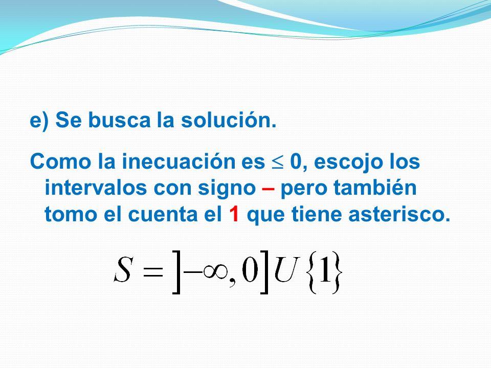 e) Se busca la solución.