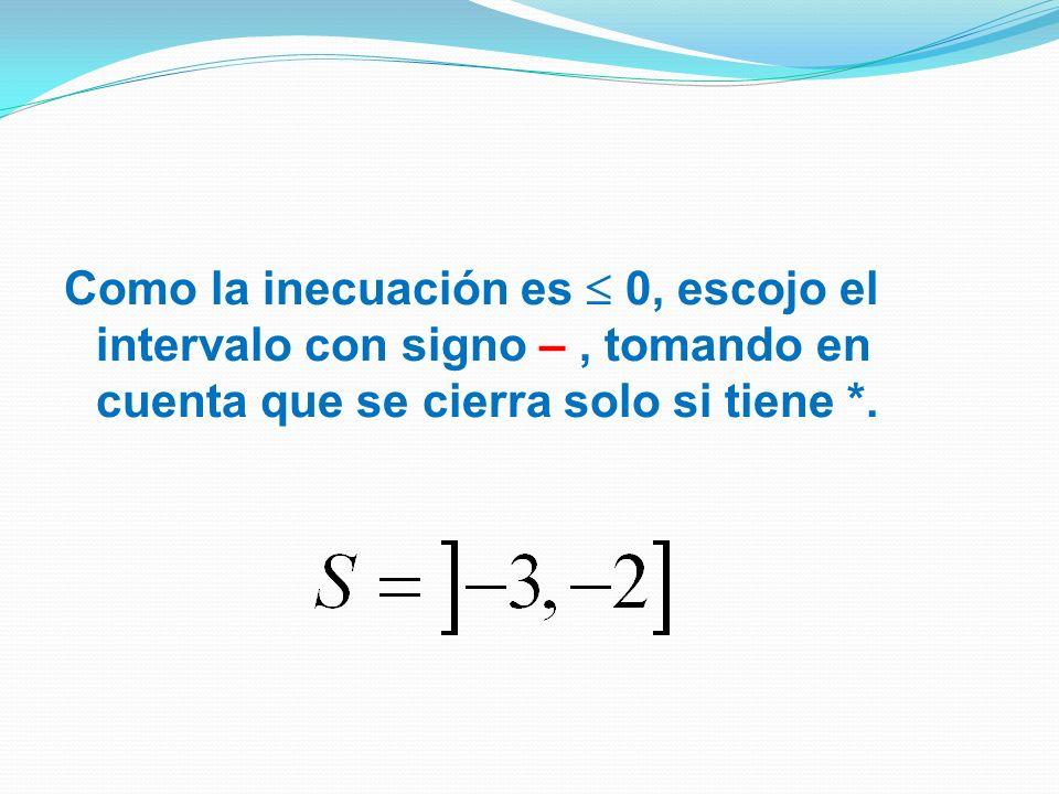 Como la inecuación es  0, escojo el intervalo con signo – , tomando en cuenta que se cierra solo si tiene *.