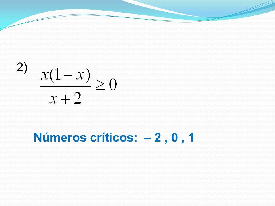 2) Números críticos: – 2 , 0 , 1