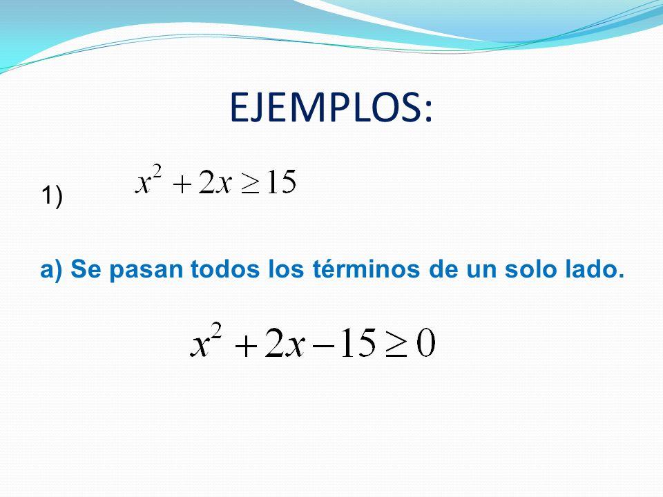 EJEMPLOS: 1) a) Se pasan todos los términos de un solo lado.