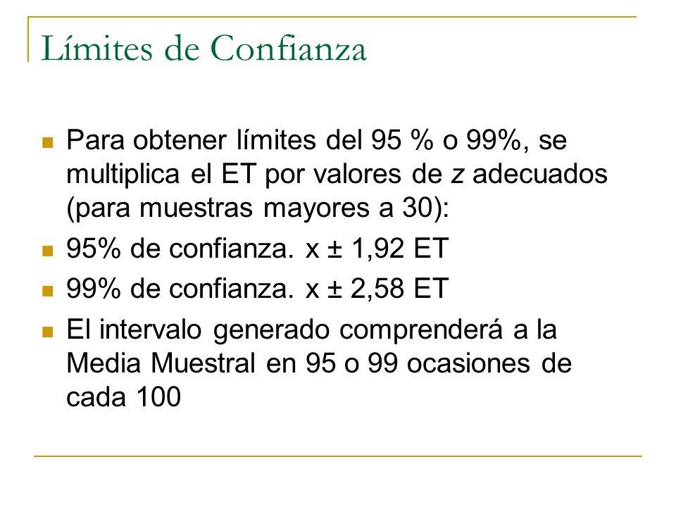 Límites de Confianza Para obtener límites del 95 % o 99%, se multiplica el ET por valores de z adecuados (para muestras mayores a 30):