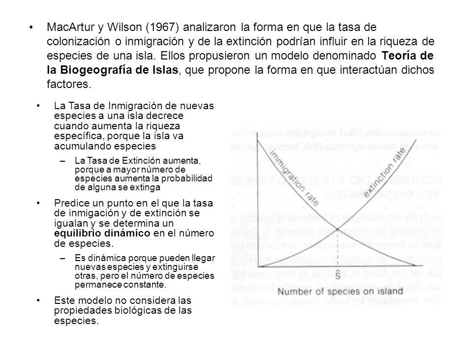 MacArtur y Wilson (1967) analizaron la forma en que la tasa de colonización o inmigración y de la extinción podrían influir en la riqueza de especies de una isla. Ellos propusieron un modelo denominado Teoría de la Biogeografía de Islas, que propone la forma en que interactúan dichos factores.