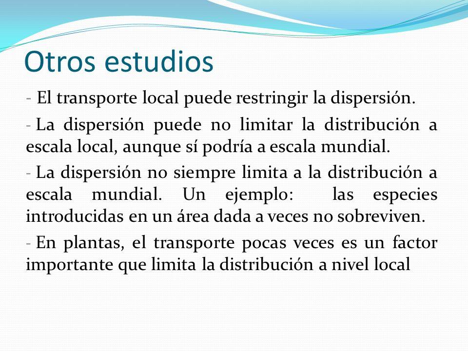 Otros estudios El transporte local puede restringir la dispersión.