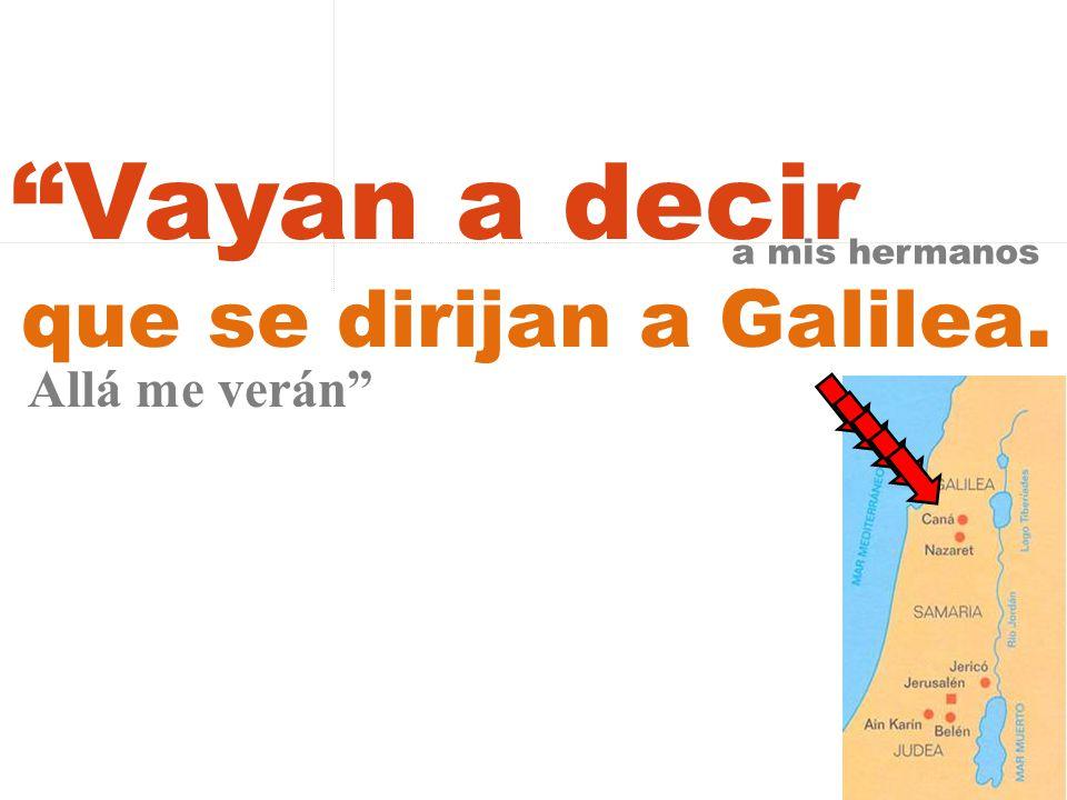 Vayan a decir a mis hermanos que se dirijan a Galilea. Allá me verán