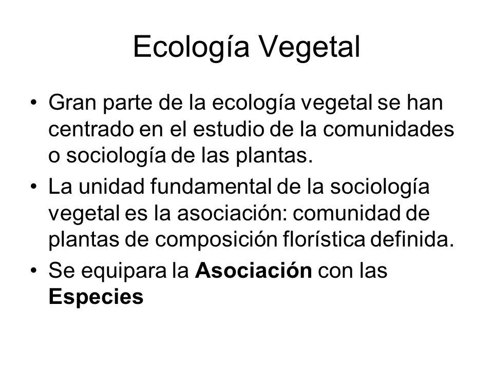 Ecología Vegetal Gran parte de la ecología vegetal se han centrado en el estudio de la comunidades o sociología de las plantas.