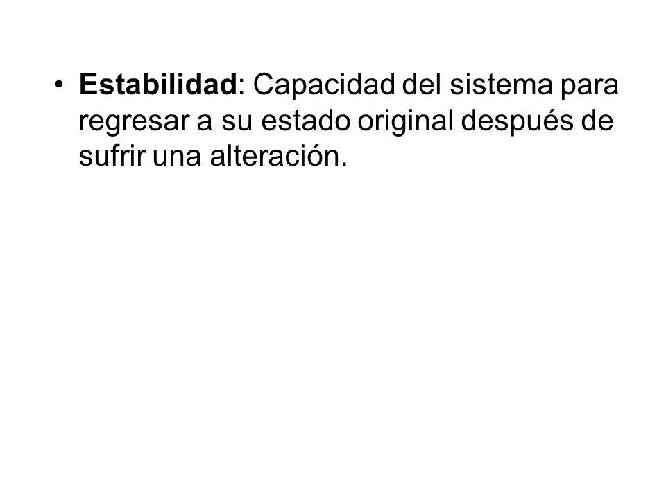 Estabilidad: Capacidad del sistema para regresar a su estado original después de sufrir una alteración.
