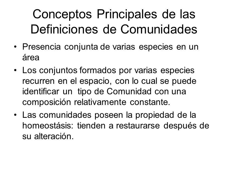 Conceptos Principales de las Definiciones de Comunidades