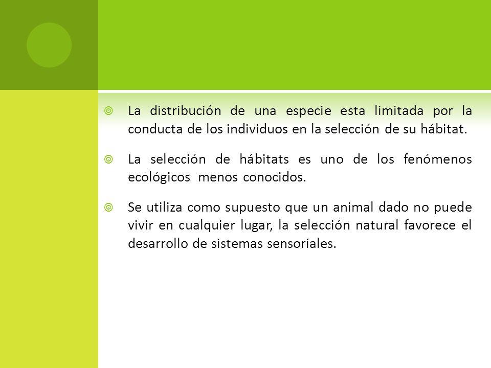 La distribución de una especie esta limitada por la conducta de los individuos en la selección de su hábitat.