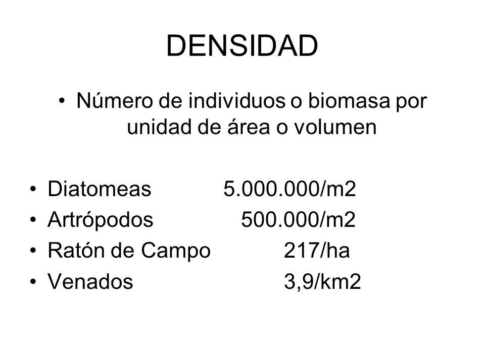Número de individuos o biomasa por unidad de área o volumen